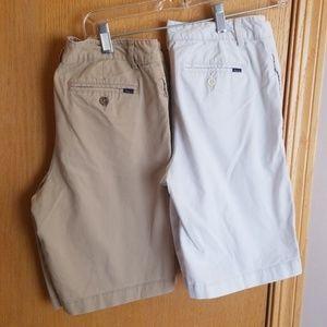 Boys 2 Polo shorts .. white .. khaki .. size 18